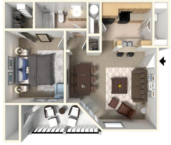 Monet Floorplan at The Crossings Apartments